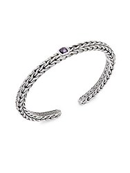 John Hardy Amethyst And Sterling Silver Braided Bangle Bracelet Purple