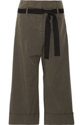 Brunello Cucinelli Belted Stretch Cotton Wide Leg Pants Army Green