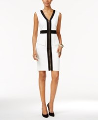 Thalia Sodi Colorblocked Peplum Sheath Dress Only At Macy's Washed White