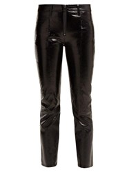 Frame Patent Leather Cropped Trousers Black
