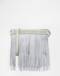 Liquorish Fringe Cross Body Bag Grey