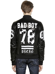 Philipp Plein Bad Boy Leather Bomber Jacket Black