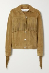 Iro Russell Fringed Suede Jacket Camel