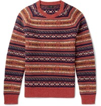 J.Crew Fair Isle Wool Sweater Brick