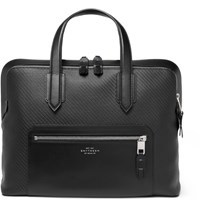 Smythson Greenwich Leather Trimmed Lacquered Cotton Briefcase Black