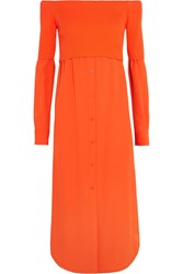 Dkny Off The Shoulder Ribbed Knit And Twill Midi Dress Orange