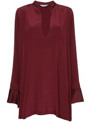 Kacey Devlin Deep V Neck Dress Red