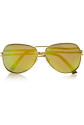 Roland Mouret Aviator Style Gold Plated Mirrored Sunglasses