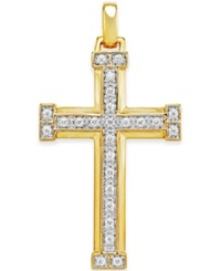 Macy's Men's Diamond Cross Pendant 1 3 Ct. T.W. In 10K Gold White
