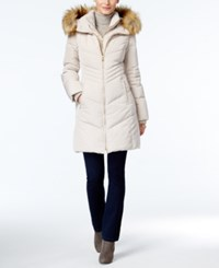 Jones New York Faux Fur Trim Hooded Down Puffer Coat Champagne