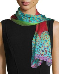 Mila And Such Bind Me Silk Scarf 100X50cm Red Pattern