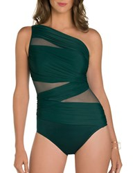 Miraclesuit Solid Semi Sheer One Piece Green