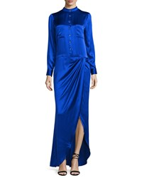 Haute Hippie Long Sleeve Button Front Gown True Blue