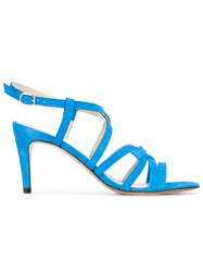 Tila March Scala Strappy Sandals Women Leather Goat Suede 37 Blue