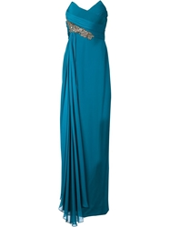 Marchesa Notte Sequin Embroidered Detail Gown Green