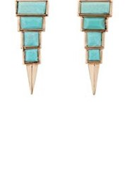Nak Armstrong Women's Turquoise Long Triangle Studs Colorless