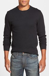 Men's The Rail Long Sleeve Waffle Knit Thermal Crewneck T Shirt Black