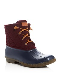 Sperry Salt Water Novelty Quilted Rain Booties Navy Maroon