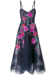 Marchesa Notte Floral Embellished Gown Blue