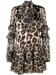 Philipp Plein Leopard Print Mini Dress Neutrals