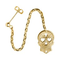 Cartergore Gold Sugar Skull With Heart Eyes Single Long Drop Earring