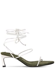 Reike Nen 60Mm Leather Lace Up Thong Sandals White