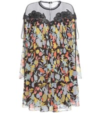 Chloe Printed Silk Georgette Dress With Lace Multicoloured