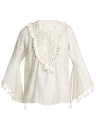 Talitha Tasselled Silk And Cotton Blend Blouse White