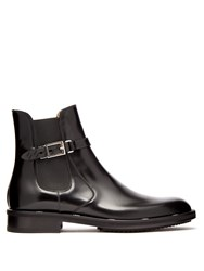 Fendi Buckled Leather Chelsea Boots Black