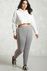 Forever 21 Plus Size Striped Sweatpants Heather Grey White