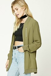 Forever 21 Contemporary Bomber Jacket Olive