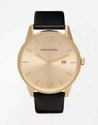 Unknown Black Leather Strap Watch With Gold Dial Black
