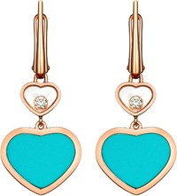 Chopard Happy Hearts 18Ct Rose Gold Diamond And Turquoise Earrings