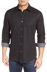 Bugatchi Men's Shaped Fit Herringbone Sport Shirt