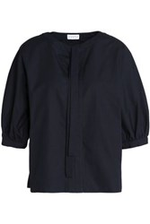 Claudie Pierlot Pussy Bow Cotton Poplin Blouse Midnight Blue