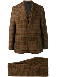 Gabriele Pasini Tartan Three Piece Suit Brown
