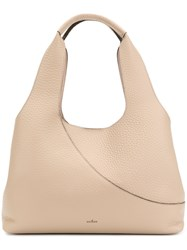 Hogan Elongated Grained Tote Bag Nude And Neutrals