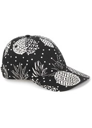 Dolce And Gabbana Pineapple Print Cotton Blend Cap Black And White