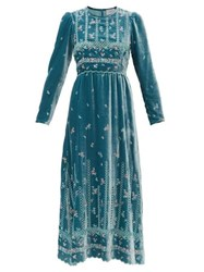 Luisa Beccaria Floral Embroidered Velvet Gown Light Blue