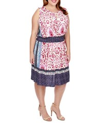 Lucky Brand Plus Printed Splitneck Dress Pink
