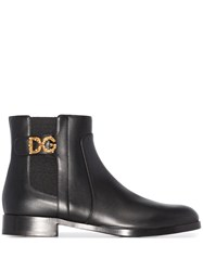 Dolce And Gabbana Logo Chelsea Boots Black