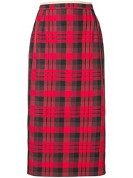 N 21 No21 Tartan Pencil Skirt Red