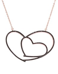 Lord And Taylor Cubic Zirconia Open Heart Pendant Necklace Black