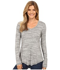 Mod O Doc Space Dye Rayon Spandex Jersey Back Knot Long Sleeve Tee Charcoal Heathe Women's T Shirt Gray