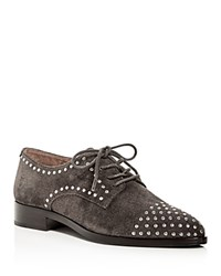 Frye Erica Stud Embellished Suede Lace Up Oxfords Gray