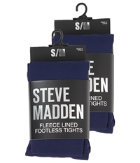 Steve Madden 2 Pack Fleece Lined Footless Tight Navy Hose