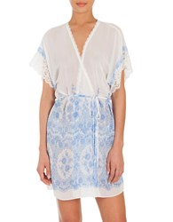 In Bloom Floral Cascading Print Short Chiffon Robe White