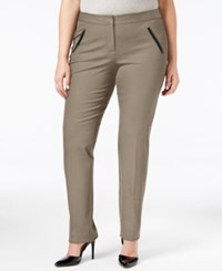 Alfani Plus Size Faux Leather Trim Tapered Leg Pants Only At Macy's Polished Clay