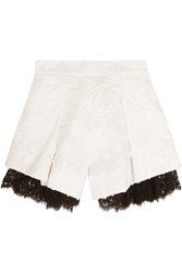 Zimmermann Mischief Lace Paneled Embroidered Linen Shorts Off White