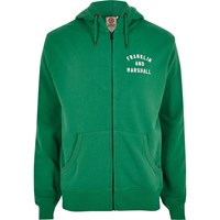 River Island Mens Green Franklin And Marshall Zip Front Hoodie
